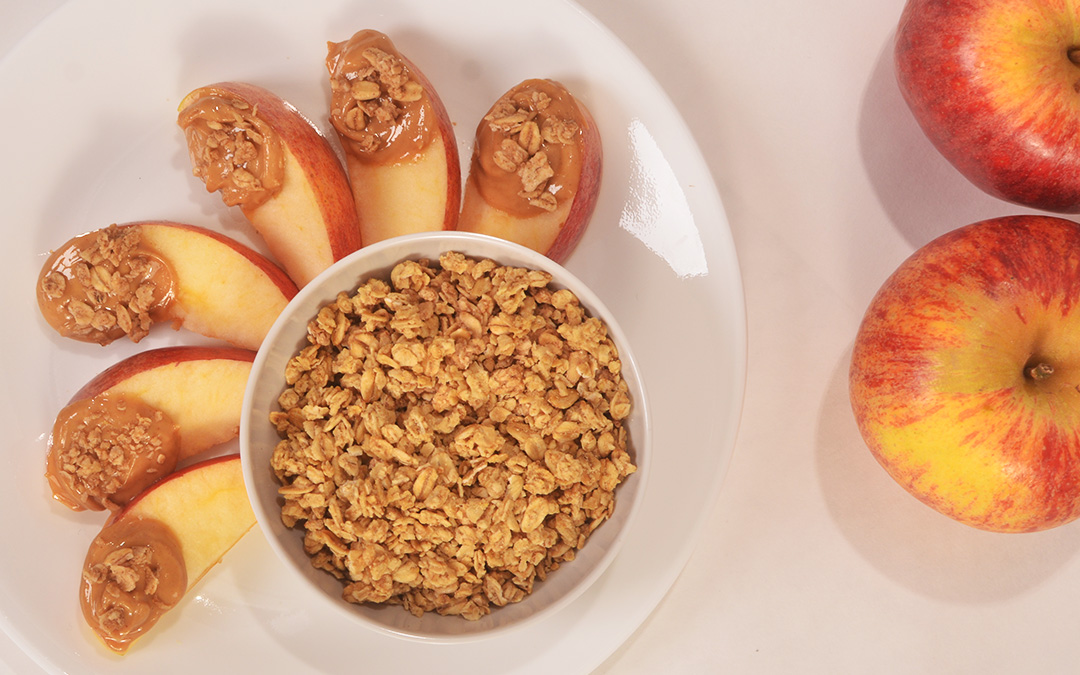Chocolate-Peanut Butter Granola Apple Slices
