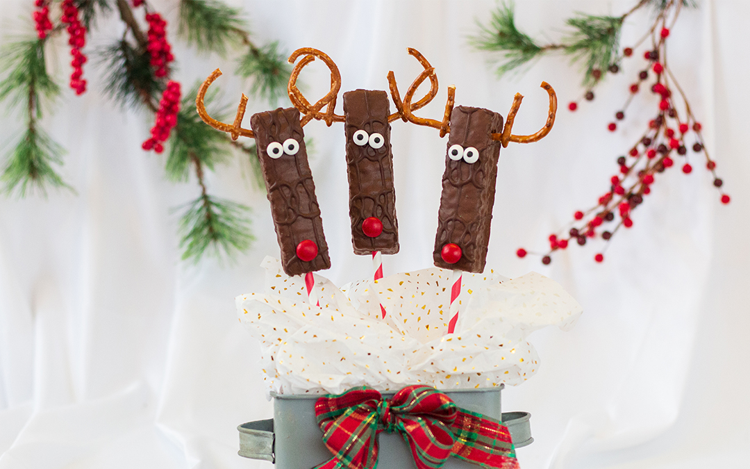 Frosted Fudge Cake Reindeer