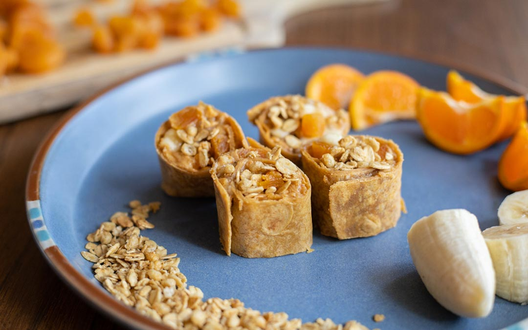 Seed Butter, Banana, and Granola Wraps